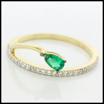 Solid 10k Yellow Gold, 0.45ctw Emerald & White Sapphire Ring size 7.5
