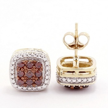 Solid 10k Yellow Gold, 0.45ctw Genuine Diamonds Stud Earrings