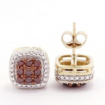 Solid 10k Yellow Gold, 0.45ctw Genuine Diamonds Stud Earrings