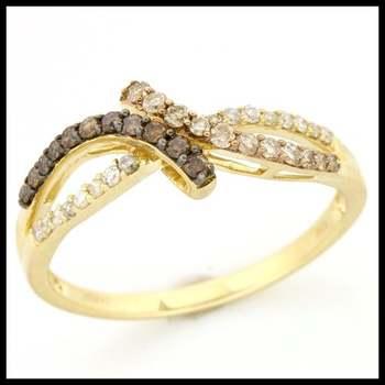 Solid 10k Yellow Gold, 0.50ctw Genuine Cognac & White Diamonds Ring size 10.5
