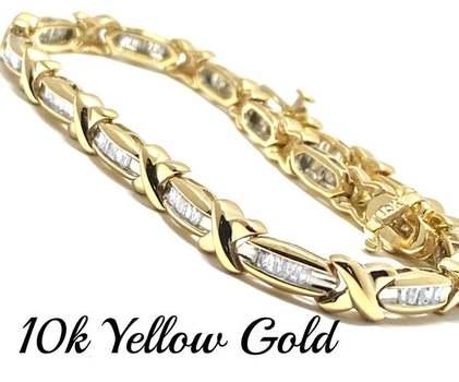 Solid 10k Yellow Gold, 0.50ctw Genuine Diamond Bracelet