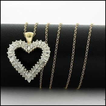Solid 10k Yellow Gold, 0.50ctw Genuine Diamond Heart Necklace