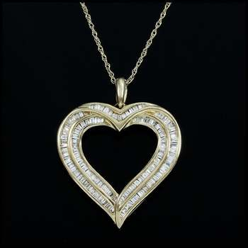Solid 10k Yellow Gold, 0.50ctw Genuine Diamond Necklace with Heart Shape Pendant