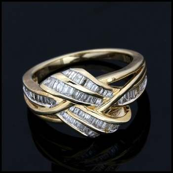 Solid 10k Yellow Gold, 0.50ctw Genuine Diamond Ring Size 7