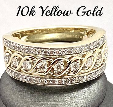 Solid 10k Yellow Gold, 0.50ctw Genuine Diamond Ring Size 9