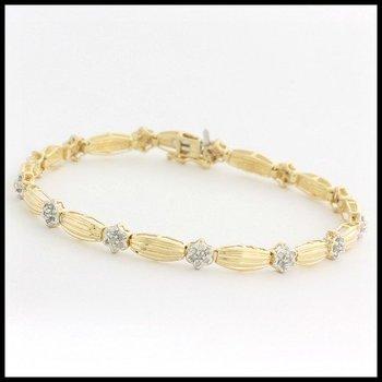 Solid 10k Yellow Gold, 0.50ctw Genuine Diamonds Bracelet
