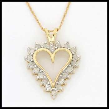Solid 10k Yellow Gold, 0.50ctw Genuine Diamonds Heart Necklace