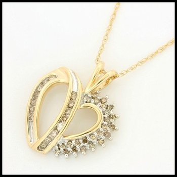 Solid 10k Yellow Gold, 0.50ctw Genuine Diamonds Heart Shape Necklace