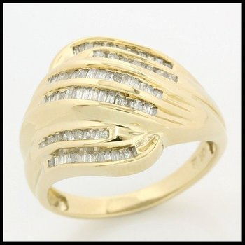 Solid 10k Yellow Gold, 0.50ctw Genuine Diamonds Ring size 7