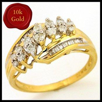 Solid 10k Yellow Gold, 0.50ctw Genuine Diamonds Ring sz 7.5