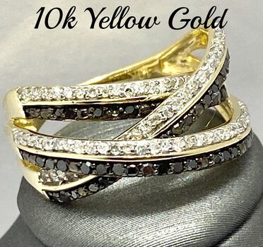 Solid 10k Yellow Gold, 0.50ctw Genuine Multi-Color Diamond Ring Size 6