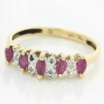 Solid 10k Yellow Gold, 0.50ctw Genuine Ruby & 0.03ctw Genuine Diamonds Ring size 6.75