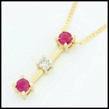 Solid 10k Yellow Gold, 0.50ctw Genuine Ruby & 0.07ctw Genuine Diamond Necklace