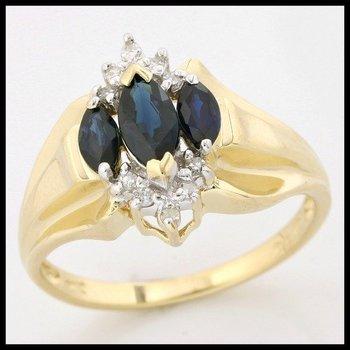Solid 10k Yellow Gold, 0.50ctw Genuine Sapphire & Genuine Diamonds Ring sz 7