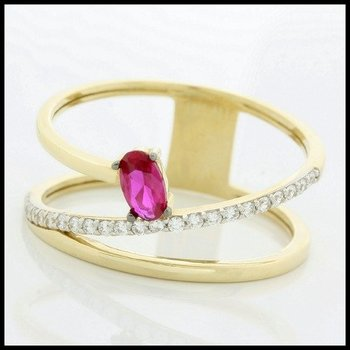 Solid 10k Yellow Gold, 0.50ctw Ruby & White Sapphire Ring size 7.5