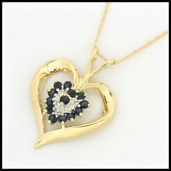 Solid 10k Yellow Gold, 0.51ctw Genuine Diamonds & Genuine Sapphire Heart Shape Necklace