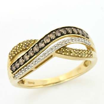 Solid 10k Yellow Gold, 0.55ctw Genuine Diamonds Ring size 8