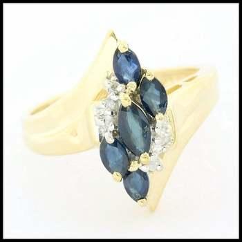 Solid 10k Yellow Gold, 0.60ctw Genuine Sapphire & 0.03ctw Genuine Diamond Ring sz 7