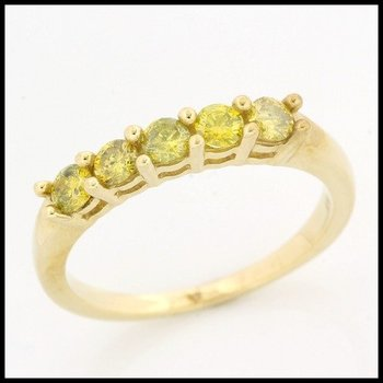 Solid 10k Yellow Gold, 0.60ctw Genuine Yellow I1 Diamonds Ring size 7