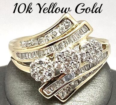 Solid 10k Yellow Gold, 0.75ctw Genuine Diamond Ring Size 7
