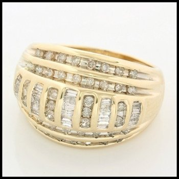 Solid 10k Yellow Gold, 0.75ctw Genuine Diamonds Ring size 7.25