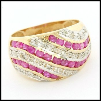 Solid 10k Yellow Gold 0.75ctw Genuine Ruby & 0.10ctw Genuine Diamond  Ring Size 7