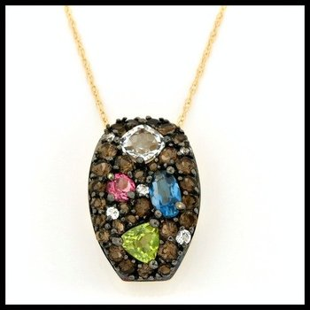 Solid 10k Yellow Gold, 0.75ctw Multi-Stones Necklace