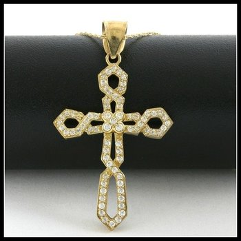 Solid 10k Yellow Gold, 0.75ctw White Sapphire Cross Necklace