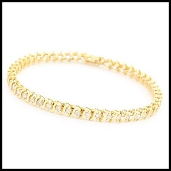 Solid 10k Yellow Gold, 1.00ctw Genuine Diamond Bracelet