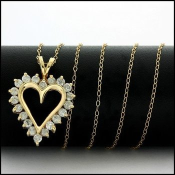 Solid 10k Yellow Gold, 1.00ctw Genuine Diamond Heart Necklace