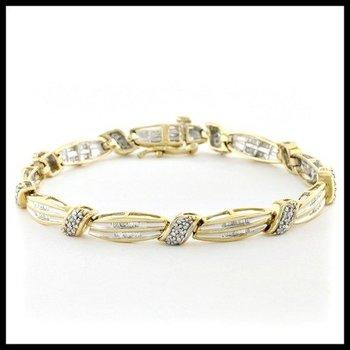 Solid 10k Yellow Gold, 1.00ctw Genuine Diamonds Bracelet