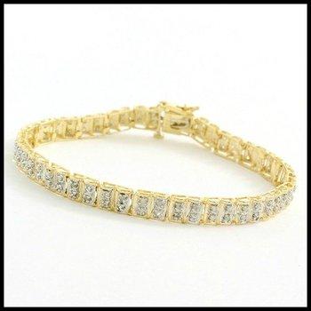 Solid 10k Yellow Gold, 1.00ctw Genuine Diamonds Tennis Bracelet