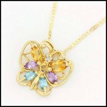 Solid 10k Yellow Gold, 1.00ctw Genuine Multi-Color Gemstones Pendant Necklace