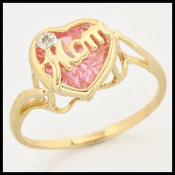 "Solid 10k Yellow Gold, 1.00ctw Genuine Pink Topaz & Genuine Diamond ""Mom"" Ring size 6"