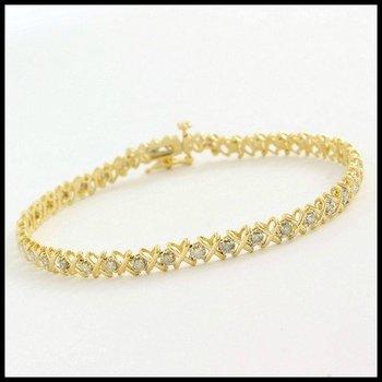 Solid 10k Yellow Gold, 1.00ctw J/I1-I2 Genuine Diamond Tennis Bracelet