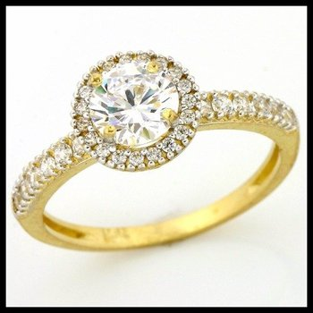 Solid 10k Yellow Gold, 1.10ctw AAA Quality CZ Engagement Ring sz 7