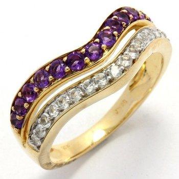 Solid 10k Yellow Gold, 1.10ctw Genuine Amethyst & Genuine White Sapphire Ring sz 7