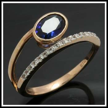 Solid 10k Yellow Gold, 1.20ctw Blue & White Sapphire  Ring Sz 6 3/4