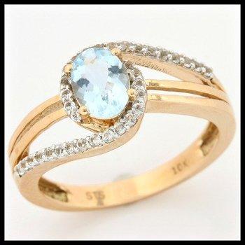 Solid 10k Yellow Gold, 1.20ctw Genuine Aquamarine & White Topaz Ring sz 7