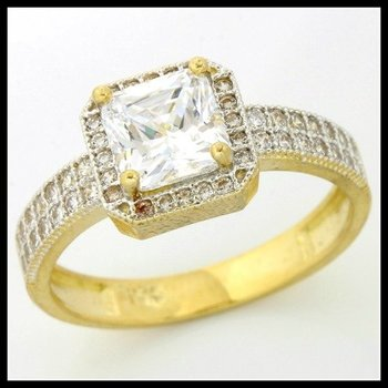 Solid 10k Yellow Gold, 1.25ctw (AAA Grade) Russian CZ Engagement Ring sz 7