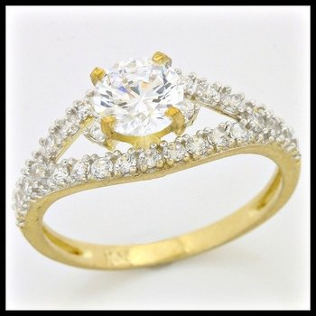 Solid 10k Yellow Gold, 1.25ctw AAA Quality CZ Engagement Ring sz 6 3/4