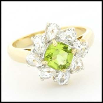 Solid 10k Yellow Gold 1.25ctw Genuine Peridot & 1.00ctw Genuine White Topaz  Ring Size 7