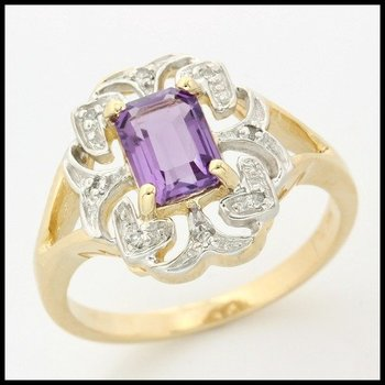 Solid 10k Yellow Gold, 1.29ctw Genuine Diamonds & Genuine Amethyst Ring sz 8