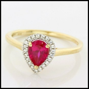 Solid 10k Yellow Gold, 1.40ctw Ruby & White Sapphire Ring size 7