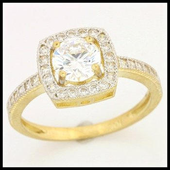 Solid 10k Yellow Gold, 1.50ctw AAA Grade Russian CZ Engagement Ring sz 6 3/4