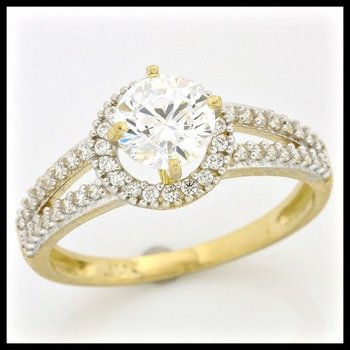 Solid 10k Yellow Gold, 1.50ctw AAA Quality CZ Engagement Ring sz 6.5
