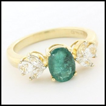 Solid 10k Yellow Gold 1.50ctw Genuine Emerald & 0.60ctw Genuine White Sapphire Ring Size 7