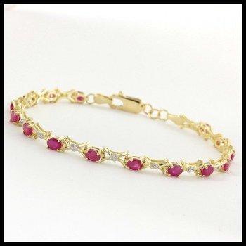 Solid 10k Yellow Gold, 1.53ctw Genuine Ruby & Genuine Diamonds Bracelet