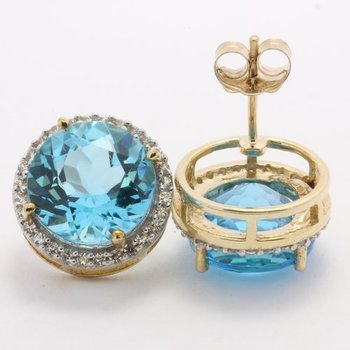 Solid 10k Yellow Gold, 15.60ctw Genuine London Blue & White Topaz Earrings