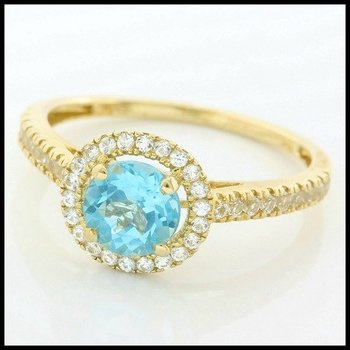 Solid 10k Yellow Gold, 2.00ctw Genuine Blue Topaz & White Sapphire Ring sz 7